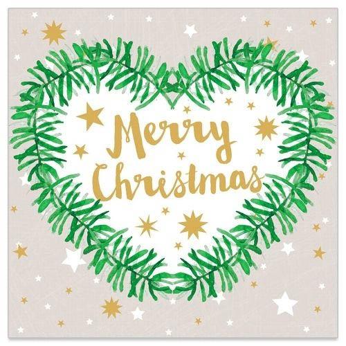 20 Servietten Tannenherz Merry Christmas Taupe | Servietten ...