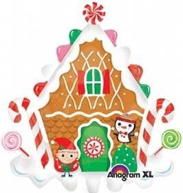 Weihnachtsballon Lebkuchenhaus 70x75cm