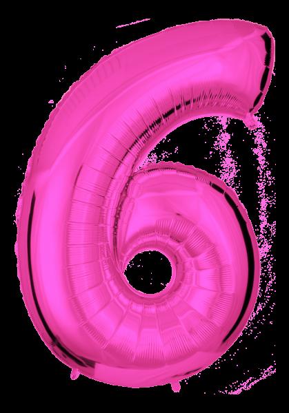 Folienballon Zahl 6 Pink 100cm