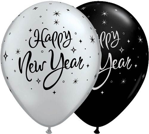 Qualatex Latexballon Happy New Year Funkeln Schwarz & Silber Ø 30cm