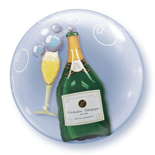Double Bubble Ballon Champagner & Glas 56cm