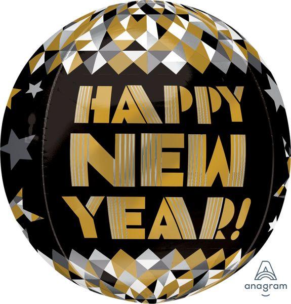 Orbz Ballon New Year Gold gemustert 40cm