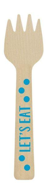 Paper Minis - 12 Holzgabeln Let's Eat Blau