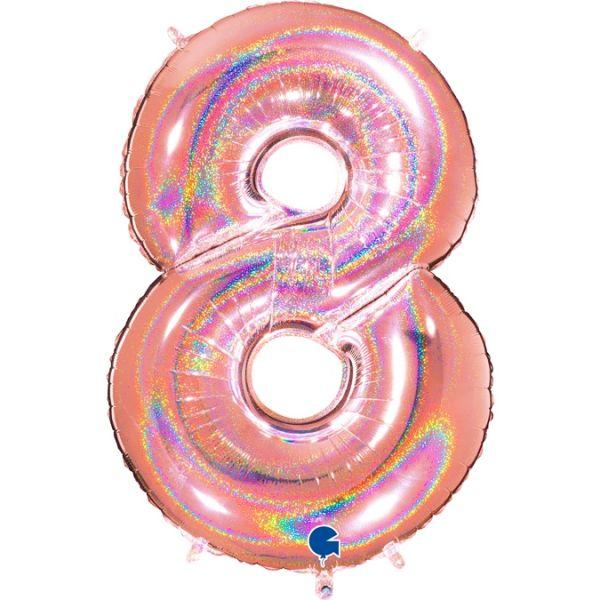 Folienballon Zahl 8 Glitter Roségold 100cm