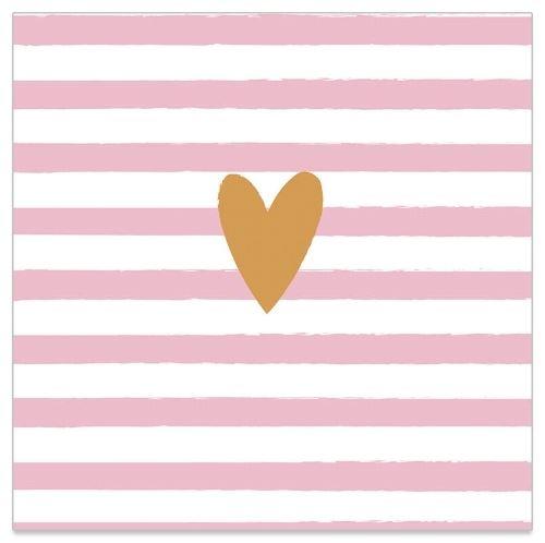 20 gestreifte Servietten mit Herz Rosé & Gold