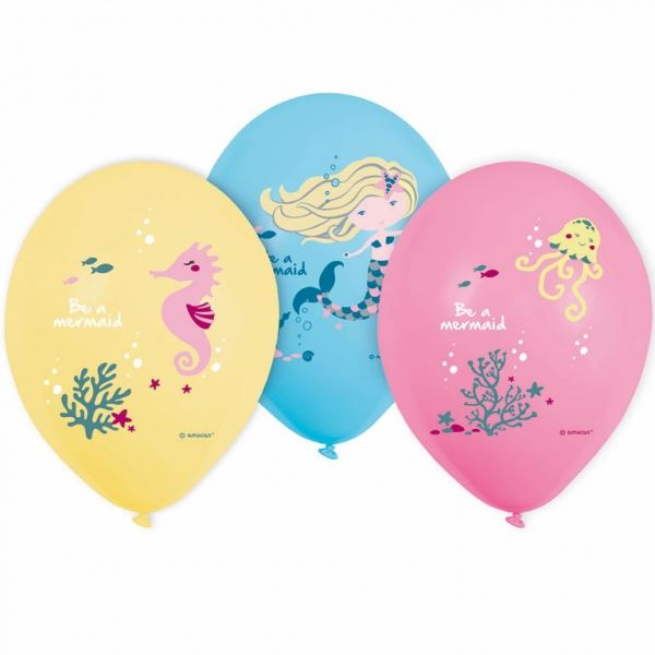 "6 Latexballons ""Meerjungfrau"" Ø 30cm"