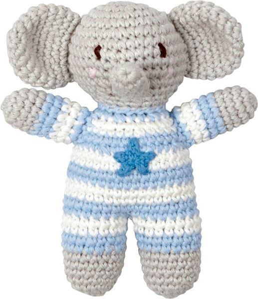 Häkel-Rassel Elefant Hellblau