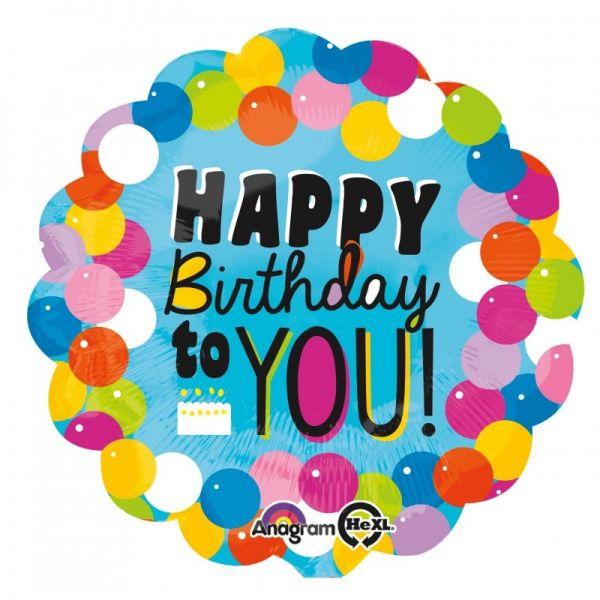 Folienballon Happy Birthday to You Bubbles 71 cm
