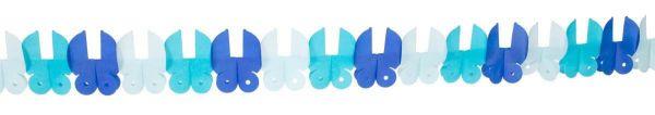 Papiergirlande Babywagen Blau