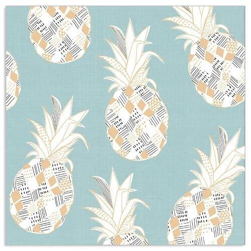 20 Servietten Ananas Blau & Gold