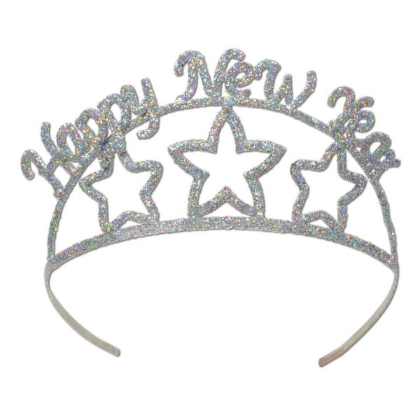 Happy New Year Glitzer Tiara Silber