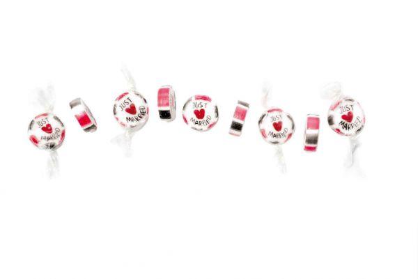 Handgemachte Just Married Bonbons Rot-Grau