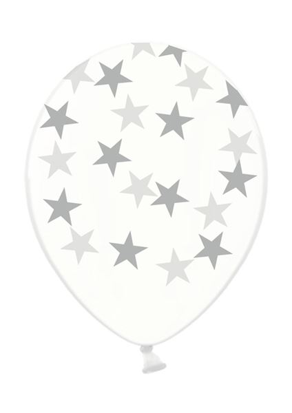 Latexballon Transparent silberne Sterne 30cm