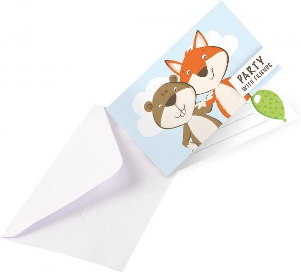Fuchs & Biber - 8 Waldparty-Einladungskarten
