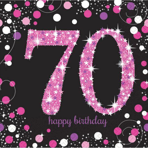 Sparkling Celebration Pink - 70. Geburtstag 16 Servietten