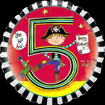 "Folienballon Pirat ""5"" 45cm"