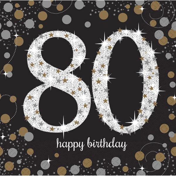 Sparkling Celebration Silber & Gold - 80. Geburtstag 16 Servietten