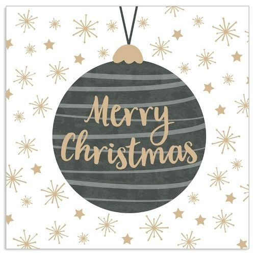 20 Weihnachtsservietten mit Christbaumkugel Anthrazit