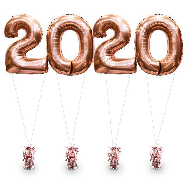 Zahlenballons 2020 Roségold inkl. Helium & Gewichten 100 cm