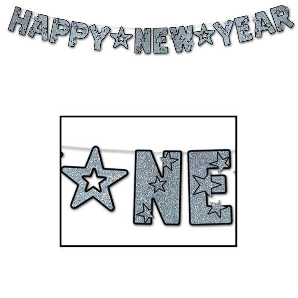 Girlande - Happy New Year Silber-Glitzer