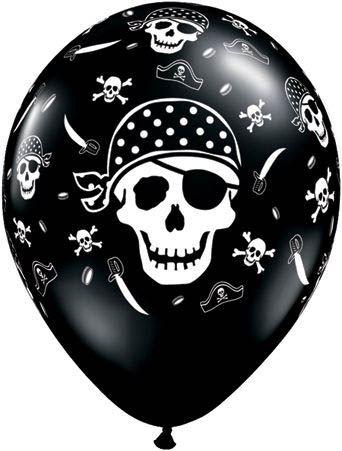 Qualatex Ballon Piraten-Totenkopf & Knochen Schwarz-Weiß 30cm