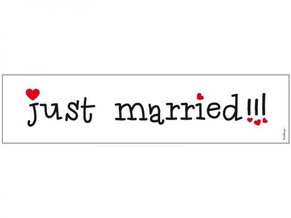 """Nummernschild Aufkleber zur Hochzeit """"Just Married"""" mit Herzchen"""