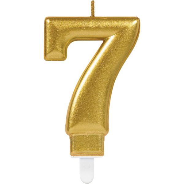 "Sparkling Celebrations Gold - Zahlenkerze ""7"""