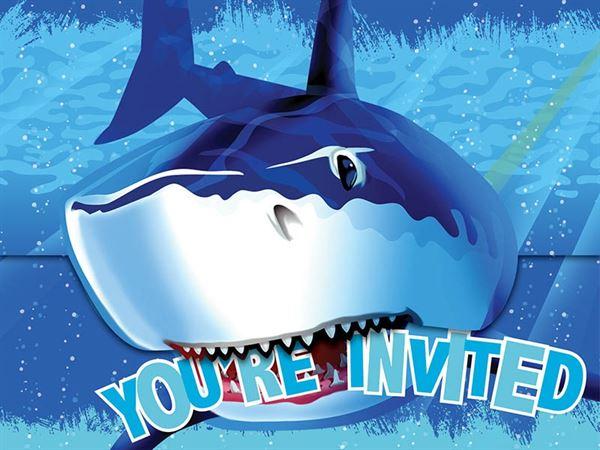 Shark Splash - 8 Einladungskarten und Umschläge