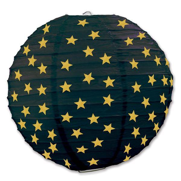 3 Stern-Lanternen Schwarz & Gold