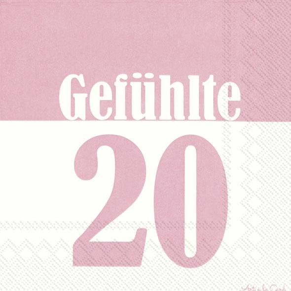 Gefuhlte 20 20 Rosa Geburtstags Servietten 20 Geburtstag