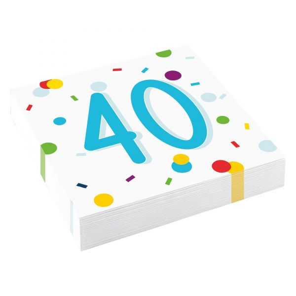 Confetti Birthday - 40. Geburtstag 20 Servietten