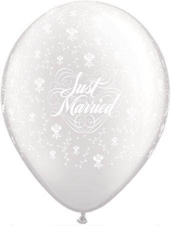 Qualatex Latexballon Just Married Blumen Pearl White Ø 30cm