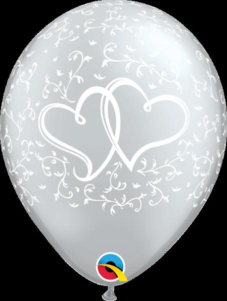 Qualatex Latexballon Verschlungene Herzen Silber Ø 30cm