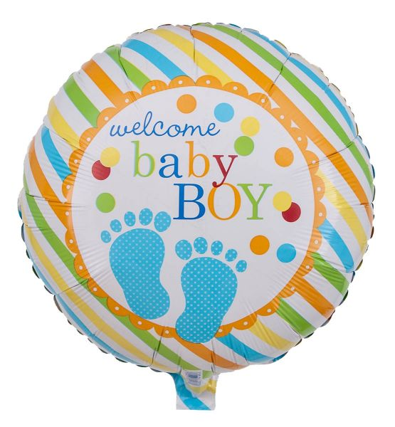 Folienballon Babyfüße Blau Welcome Baby Boy 43cm