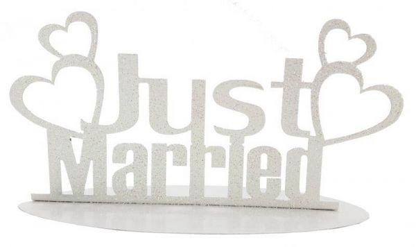Metallständer Just Married Weiß
