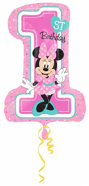 Folienballon Minnie 1. Geburtstag 48x71 cm