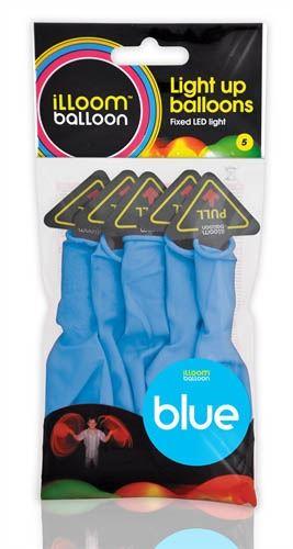 illooms LED Ballons Blau 23cm, 5 Stück