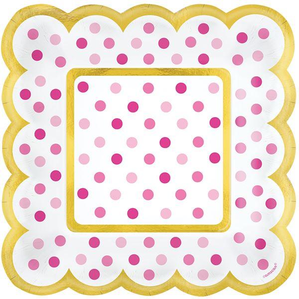 Paper Minis - 36 Quadratische Teller Pink