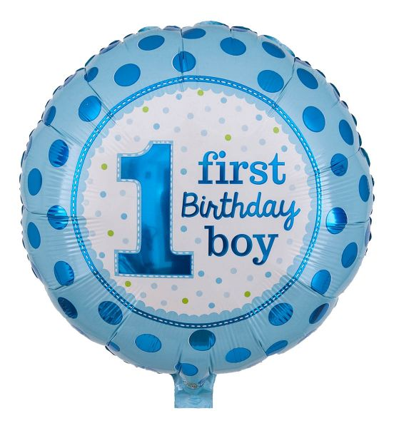 Folienballon 1st Birthday Boy Blau Polka Dots 43cm
