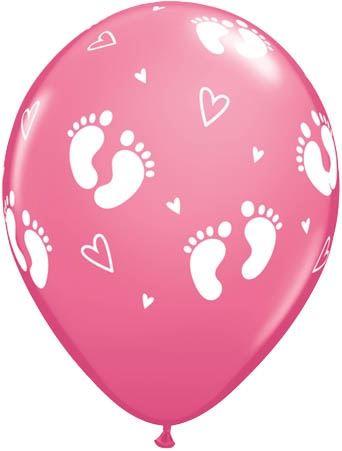 Qualatex Latexballon Baby Füße & Herzen Rose Ø 30cm