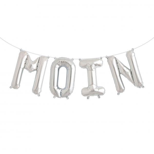 "Folienballon Girlandenset ""MOIN"" Silber"