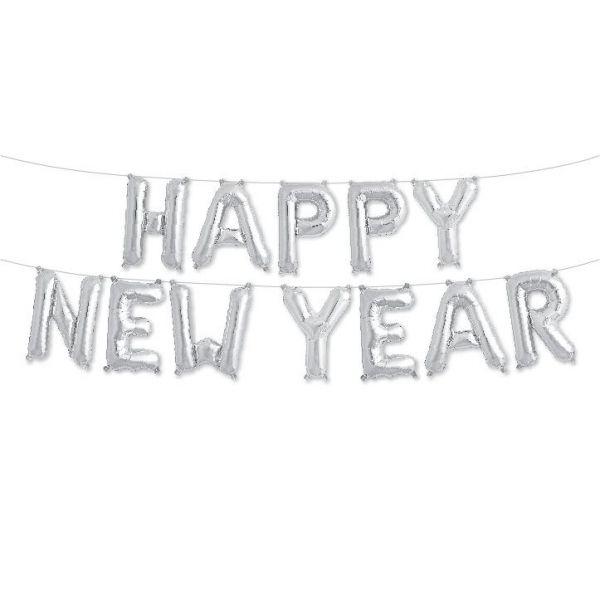 "Folienballon-Girlande ""Happy New Year"" Silber"