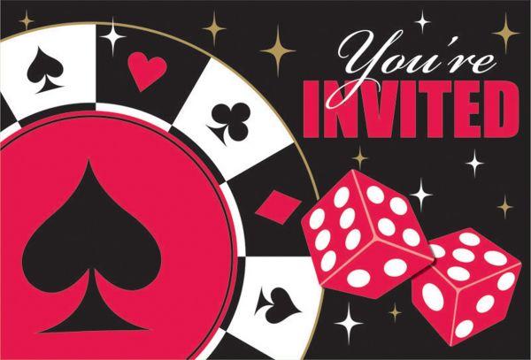Casino Party - 8 Einladungskarten mit Umschlägen