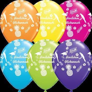 Qualatex Latexballon Herzlichen Glückwunsch verschiedene Farben, Ø 30cm
