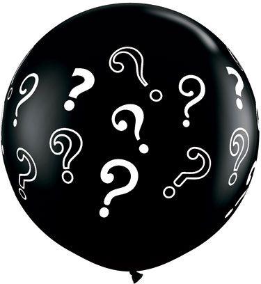 Qualatex Latexballon Gigant Gender Reveal Schwarz mit Fragezeichen Ø 90cm