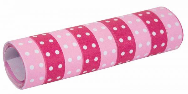 Pink - Luftschlangen mit Punkten