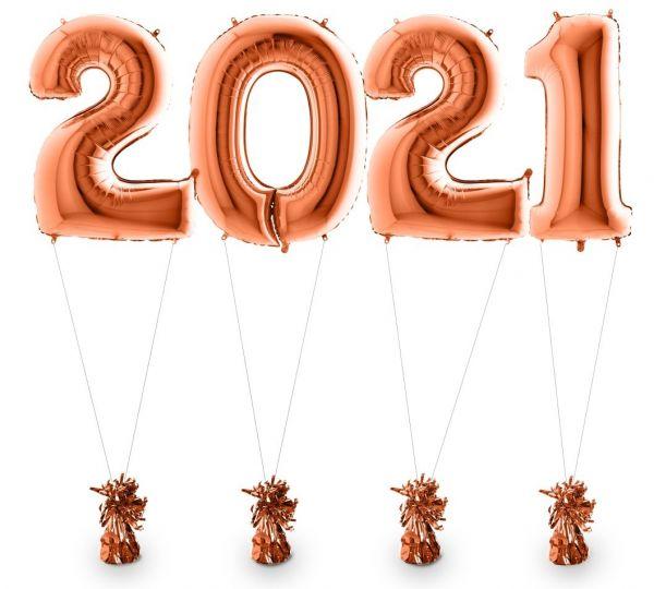 Zahlenballons 2021 Roségold inkl. Helium & Gewichten 100 cm