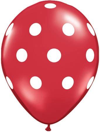 Qualatex Ballon Big Polka Dots Rot & Weiß 30cm