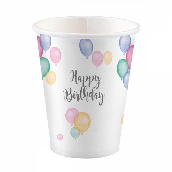 Happy Birthday Pastell - 8 Pappbecher