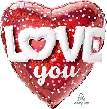 Folienballon Herz Love You mit Herzen & Punkten 91cm